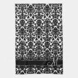 Damask Pattern with Monogram - Black and White Hand Towels
