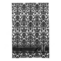 Damask Pattern with Monogram - Black and White Kitchen Towels