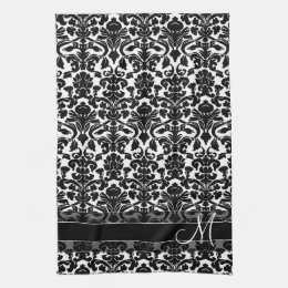Damask Pattern with Monogram - Black and White Kitchen Towel
