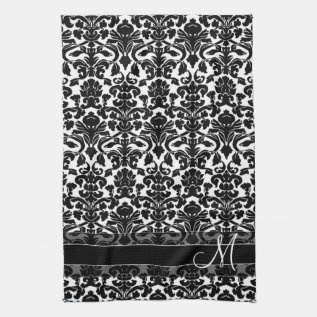 Damask Pattern With Monogram - Black And White Kitchen Towel at Zazzle