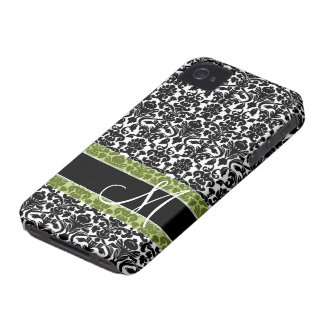 Damask Pattern with Monogram iPhone 4 Cover