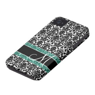 Damask Pattern with Monogram Case-Mate iPhone 4 Cases
