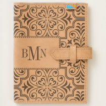 Damask pattern with monogram handmade leather journal