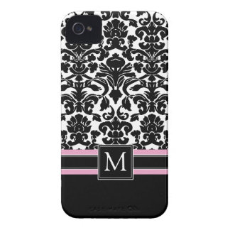 Damask Pattern with Monogram iPhone 4 Case-Mate Cases
