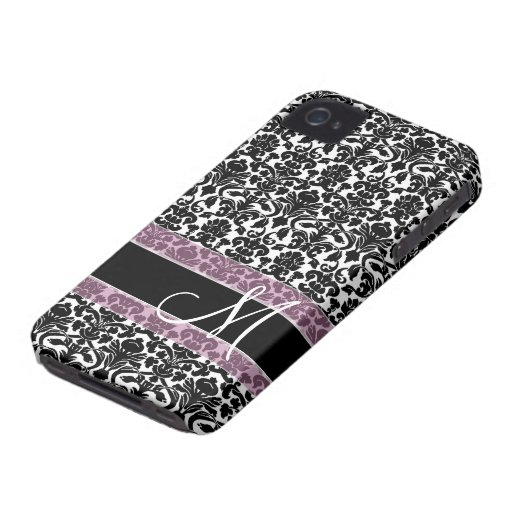 Damask Pattern with Monogram iPhone 4 Covers