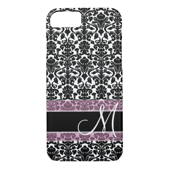 Damask Pattern with Monogram iPhone 7 Case