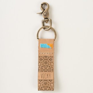 Damask pattern with name handcrafted leather keychain