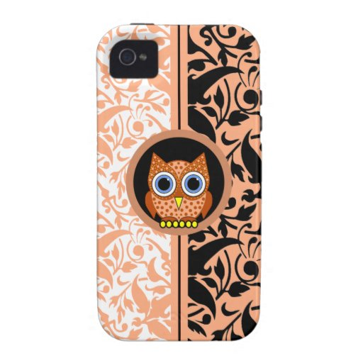 damask pattern with owl vibe iPhone 4 case
