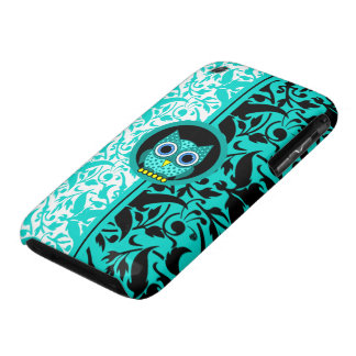 damask pattern with owl Case-Mate iPhone 3 case