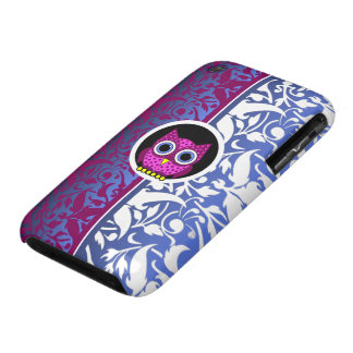 damask pattern with owl iPhone 3 case