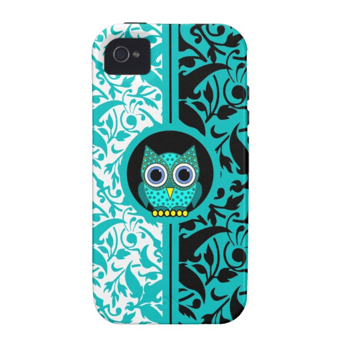 damask pattern with owl iPhone 4 case