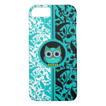 damask pattern with owl iPhone 7 case