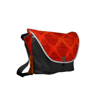 Damask Pattern with Red Orange Yellow Ombre Effect Small Messenger Bag