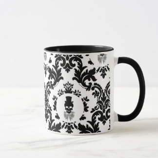 Damask Pattern with Skull Cameo Mug