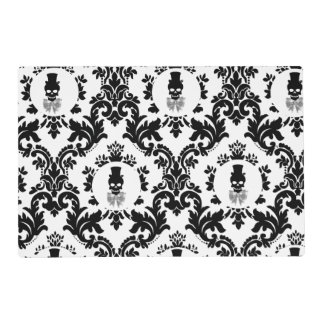 Damask Pattern with Skull Cameo Placemat Laminated Place Mat