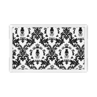 Damask Pattern with Skull Cameo Serving Tray Rectangle Serving Trays
