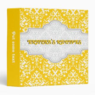 Damask pattern yellow, white & frame recipe 3 ring binders