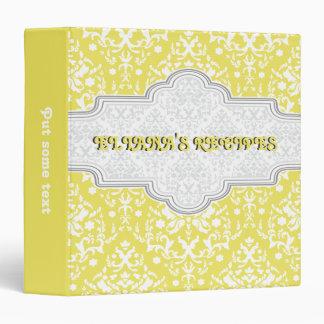 Damask pattern yellow, white & frame recipe binder