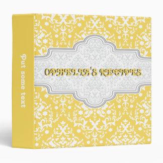 Damask pattern yellow, white & frame recipe vinyl binders