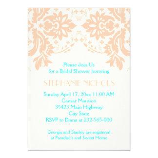 Damask peach, aqua, ivory wedding bridal shower card
