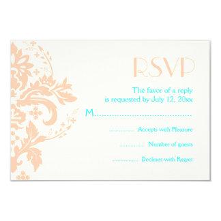 Damask peach, aqua, ivory wedding RSVP reply card