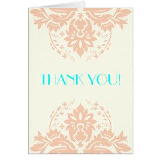 Damask peach, aqua, ivory wedding Thank You Card