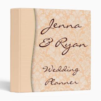 Damask Peach Wedding Planner or Recipe Bridal Binder