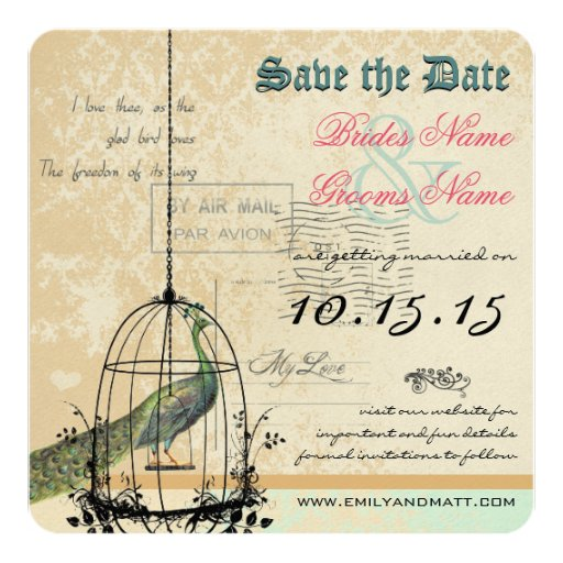 Damask Peacock Bird Cage Wedding Save the Date 5.25x5.25 Square Paper Invitation Card