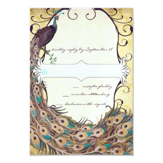 Damask Peacock Elegance Eggplant Gold and Aqua 3.5x5 Paper Invitation Card