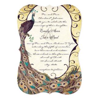 Damask Peacock Elegance Eggplant Gold and Aqua 5x7 Paper Invitation Card
