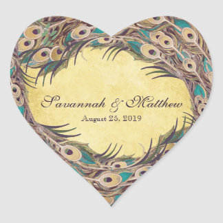 Damask Peacock Elegance Eggplant Gold and Aqua Heart Sticker