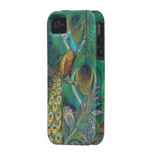 Damask Peacock & Feather You Choose Color Vibe iPhone 4 Cases