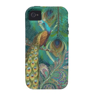 Damask Peacock & Feather You Choose Color Tough Iphone 4 Cover