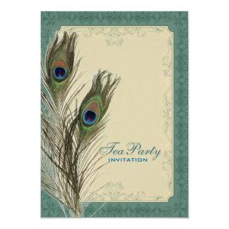 damask peacock wedding Bridal Shower Tea Party Card