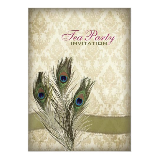 damask peacock wedding Bridal Shower Tea Party Card