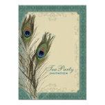 damask peacock wedding Bridal Shower Tea Party 5x7 Paper Invitation Card
