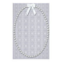 Damask, Pearls and Ribbon Design Stationery