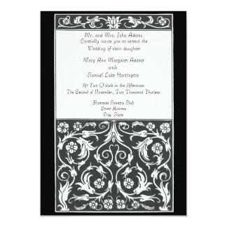 Damask Pen and Ink, Black, White Wedding Custom Card
