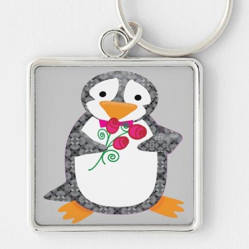 Damask Penguin Keychain