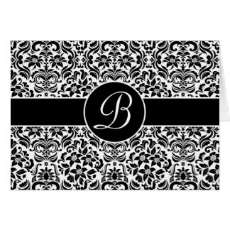 Damask Personalized Card with Monogram Cards