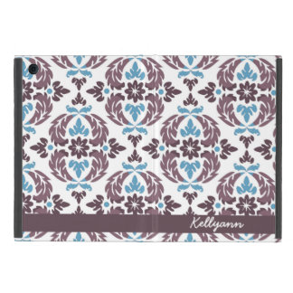 Damask Personalized Taupe & Blue Mini iPad Cover