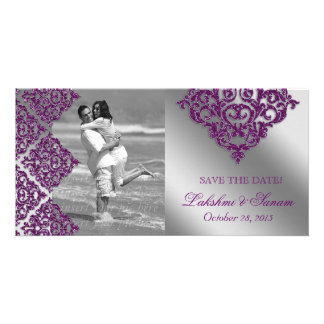 Damask Photo Card Save the Date Sparkle Purple Sil