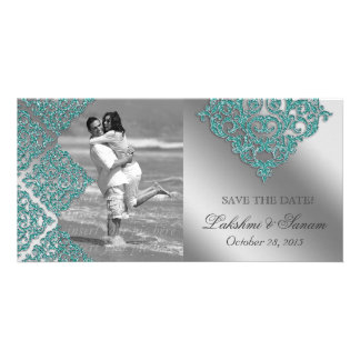 Damask Photo Card Save the Date Sparkle Teal