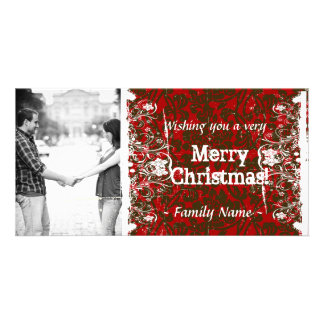 Damask Photo Christmas Card