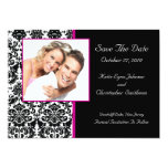 """Damask Photo Save The Date HOT PINK Announcement 5"""" X 7"""" Invitation Card"""