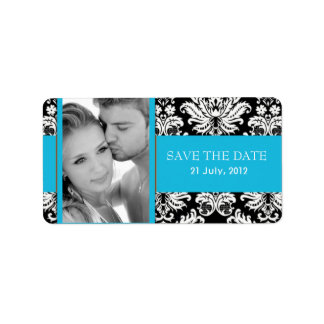 Damask Photo Save The Date Labels