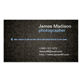 Damask Photography Business Card w/ QR Code
