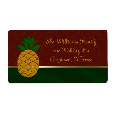Christmas Themed Damask Pineapple Holiday Address Labels