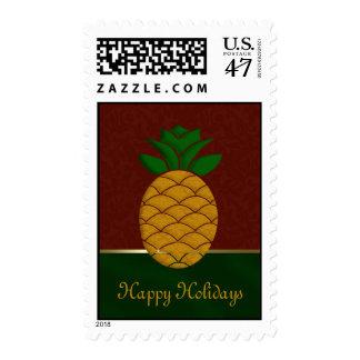 Damask Pineapple Holiday Postage