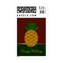 Damask Pineapple Holiday Postage